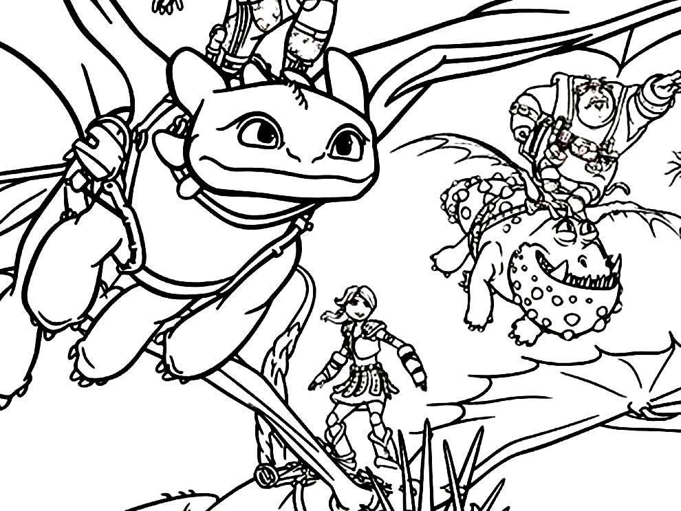Lindo desenho de Dragão para colorir e pintar