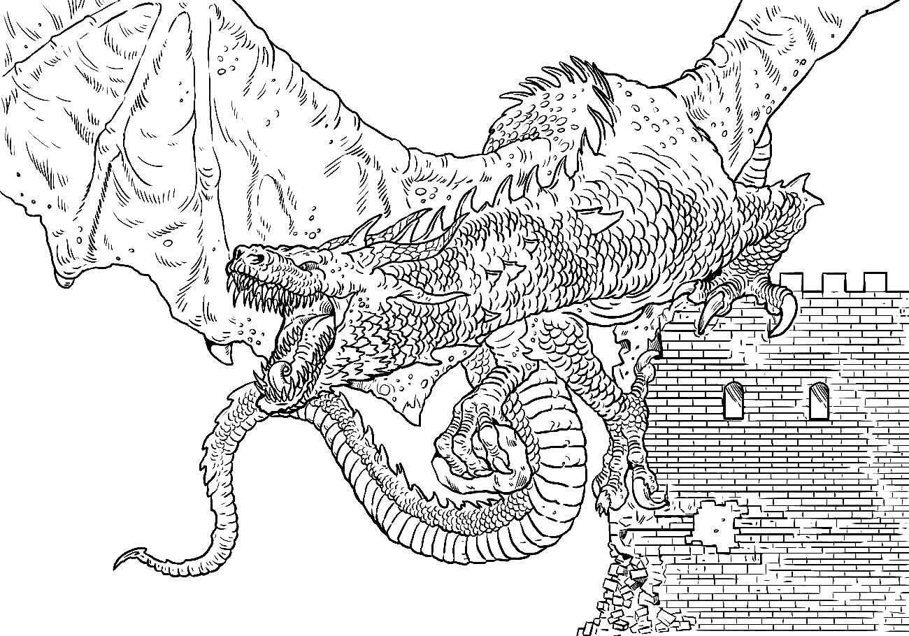 Desenho de Dragão no Castelo para colorir