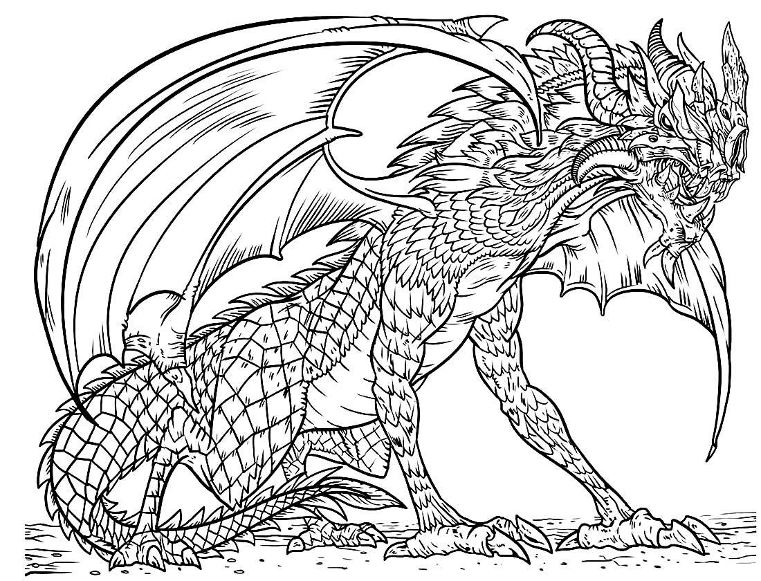 Desenho de Dragão para colorir e pintar