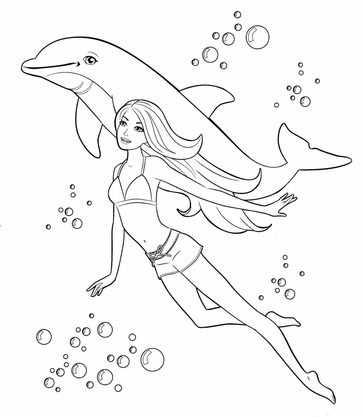 Desenho de colorir de Golfinho e Barbie