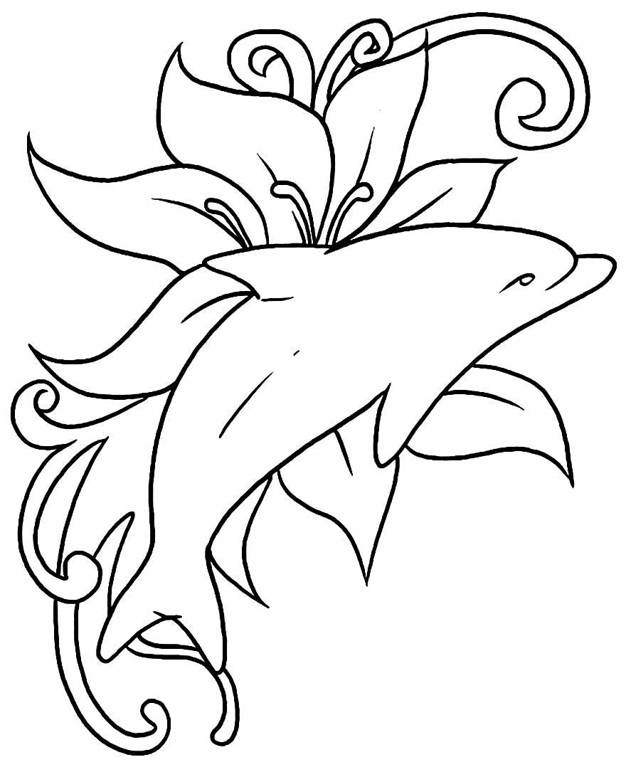 Golfinho para pintar e colorir