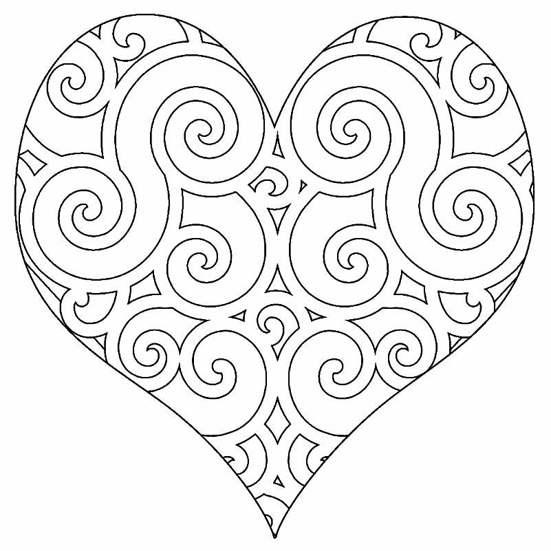 Imagem de coração para colorir e pintar