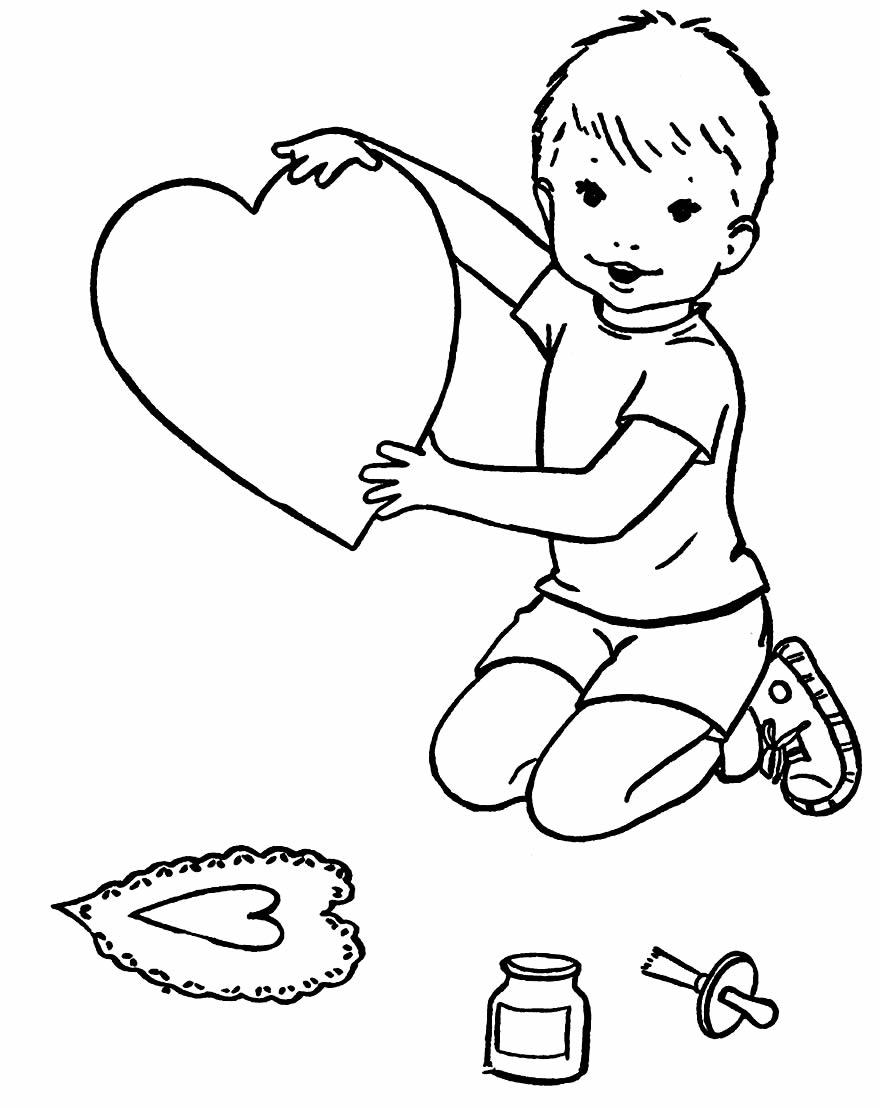 Desenho de coração para colorir e pintar