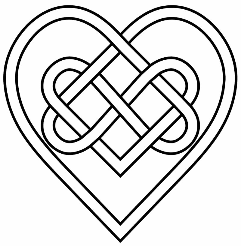 Desenho de coração para imprimir e pintar