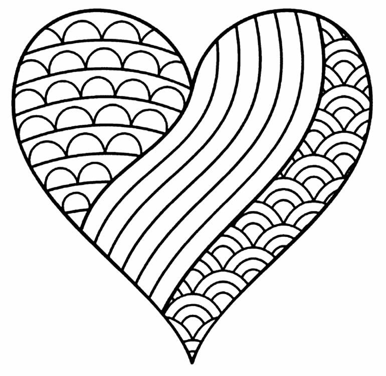 Imagem de coração para colorir