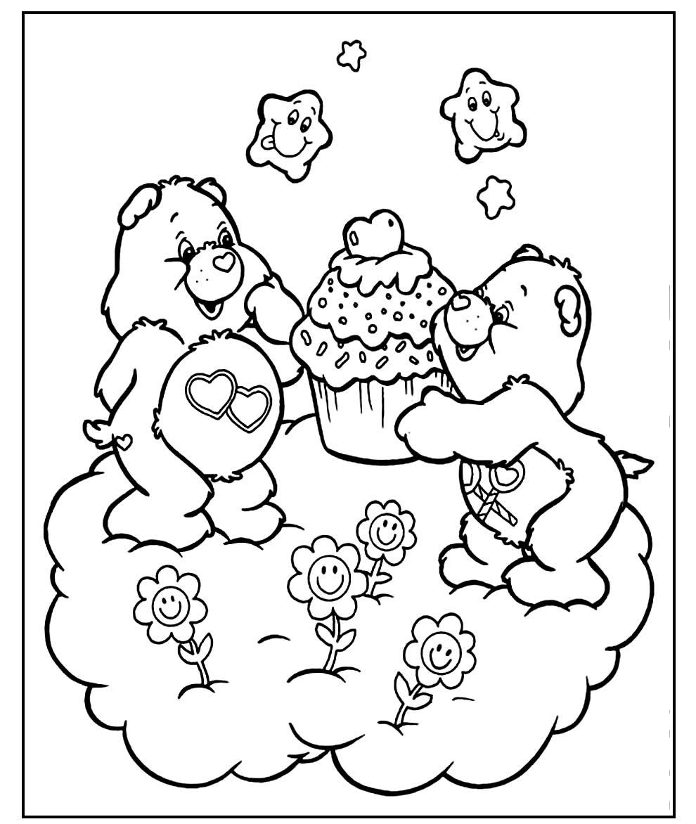 Páginas para pintar dos Ursinhos Carinhosos