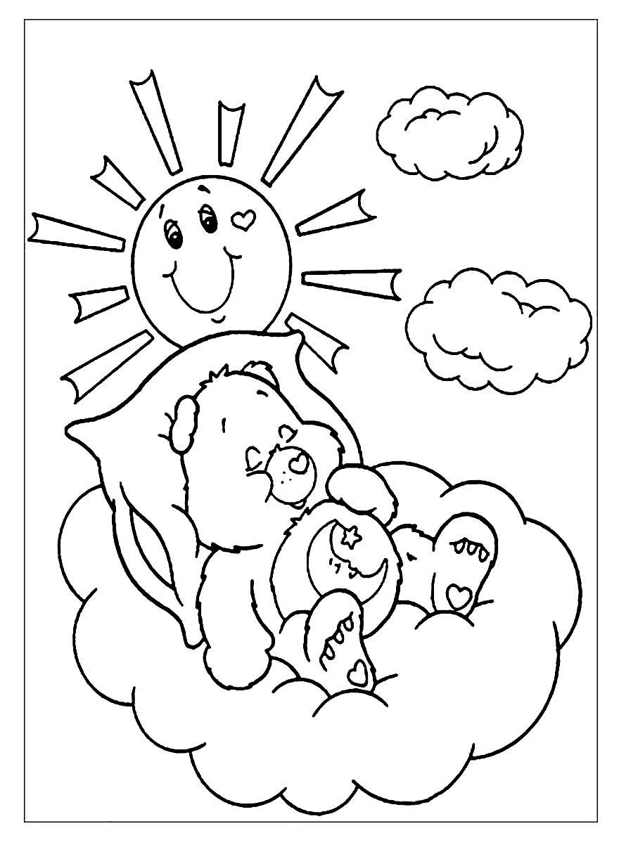 Página para colorir dos Ursinhos Carinhosos