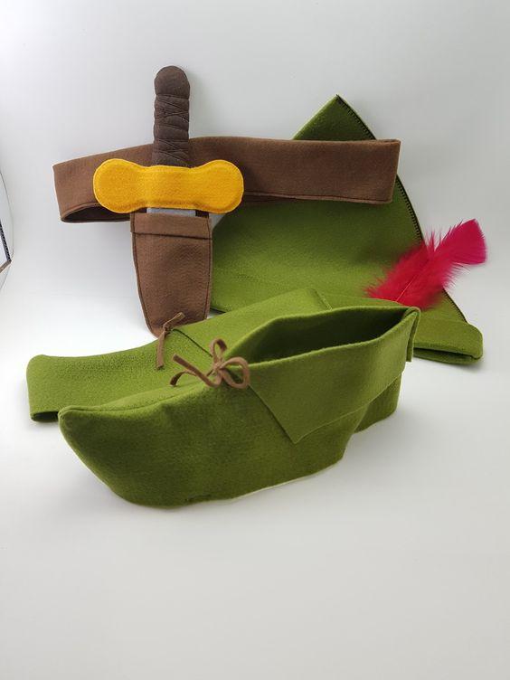 Conjunto de chapéu, sapato e faca de Peter Pan em feltro