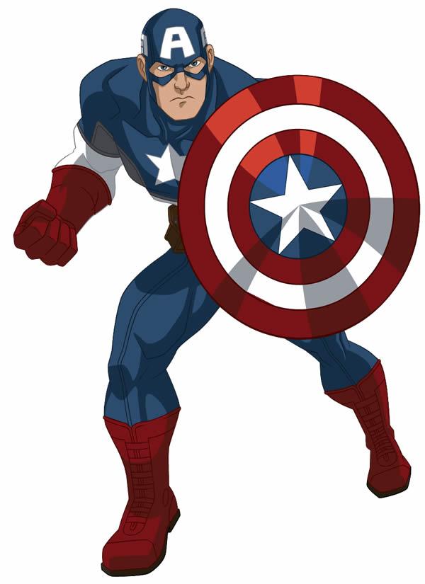 Desenho colorido do Capitão América