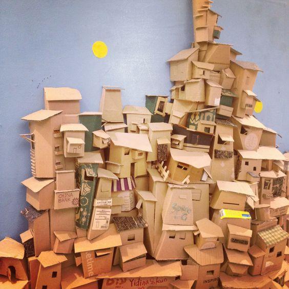 como fazer casas de papelão