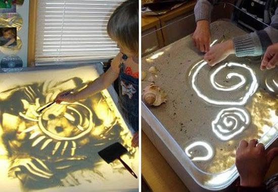 como fazer mesa de luz para criancas desenha e escrever