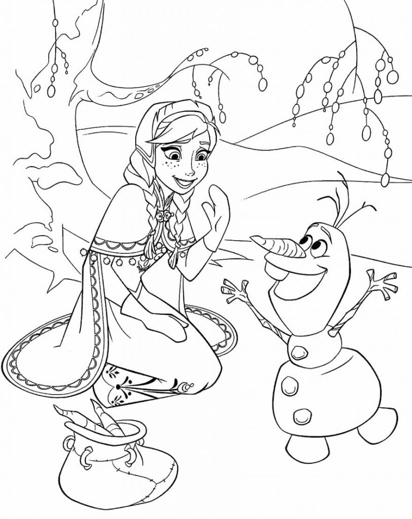 Desenho para colorir do Olaf e da Frozen