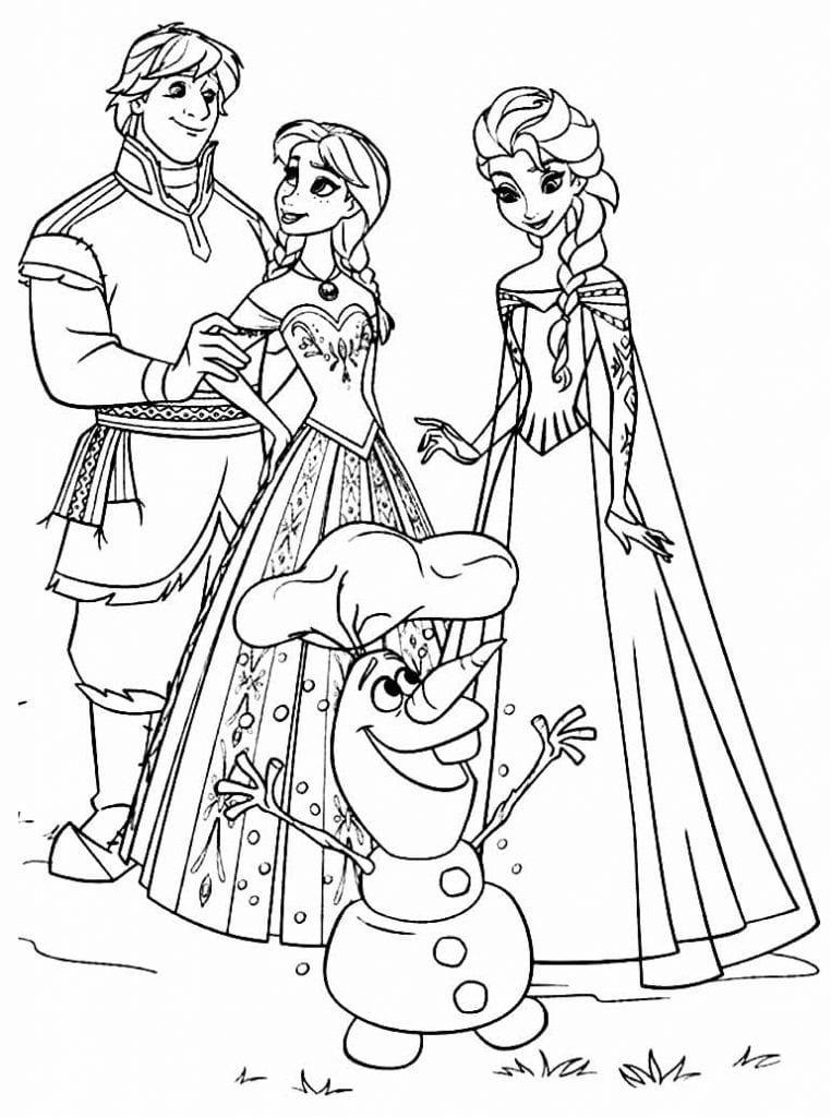 Desenho de Olaf e da Frozen para pintar