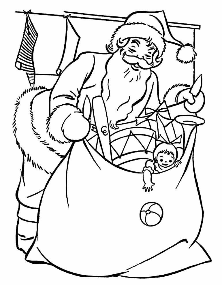 Desenho de Papai Noel para colorir