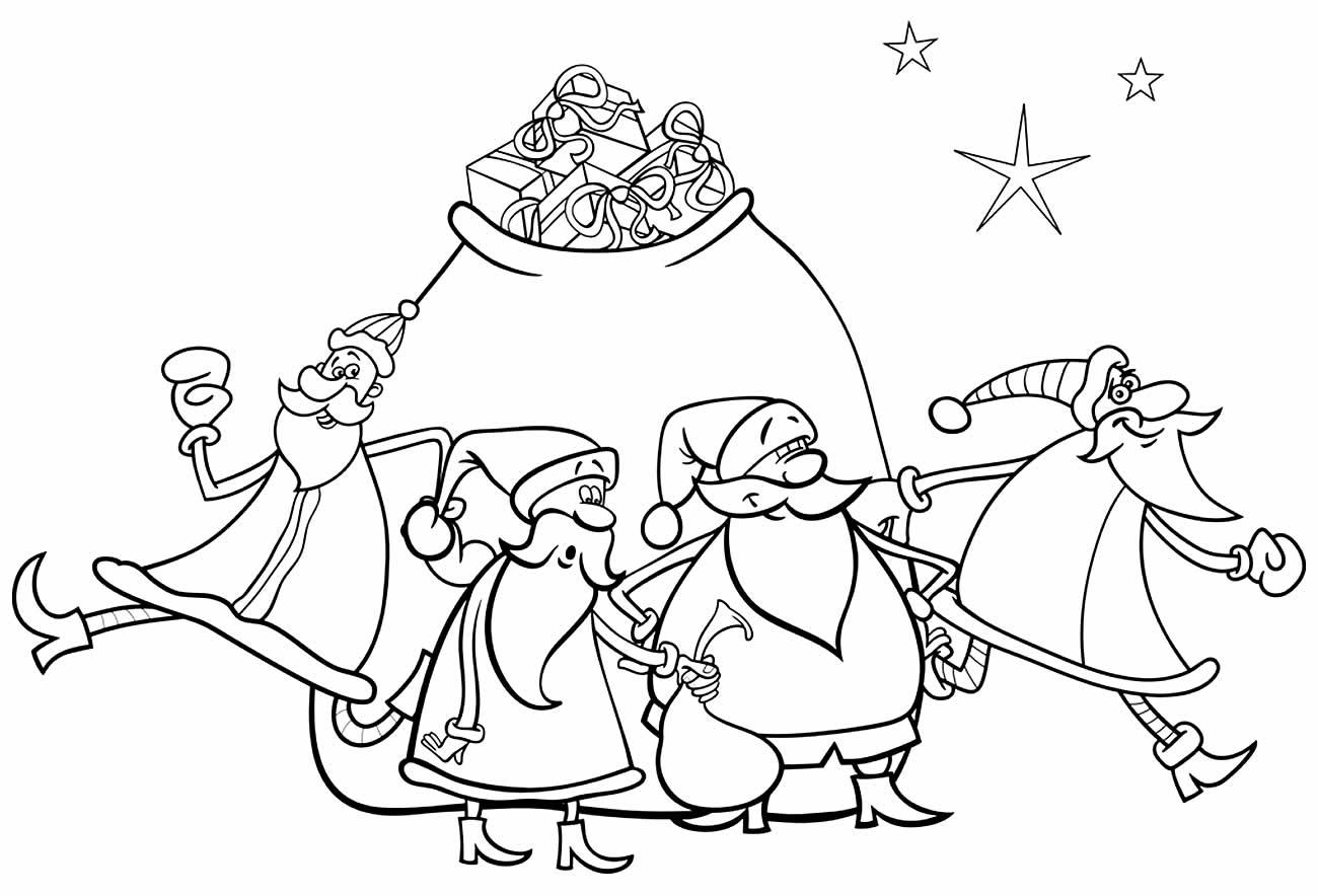 Desenho lindo de Papai Noel para pintar