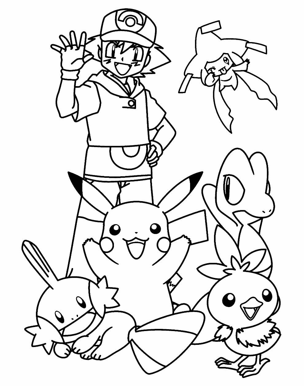 Desenho de Pikachu e Ash para colorir
