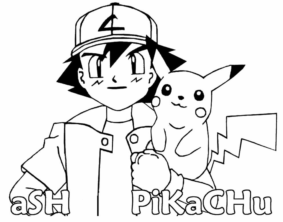 Pikachu e Ash para pintar