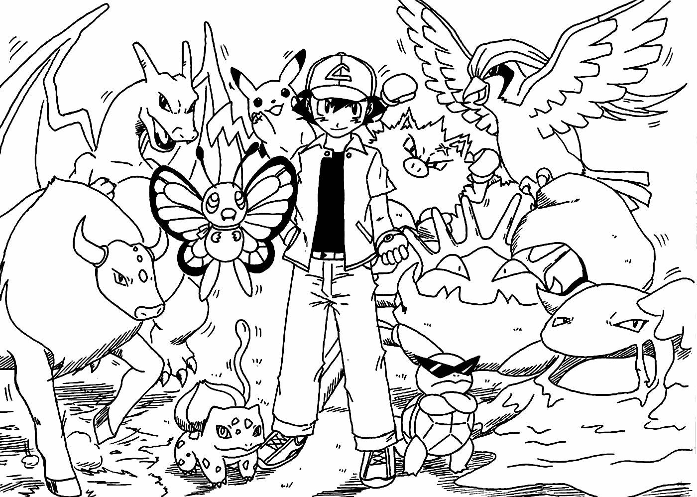 Desenho lindo de Ash e Pikachu para pintar