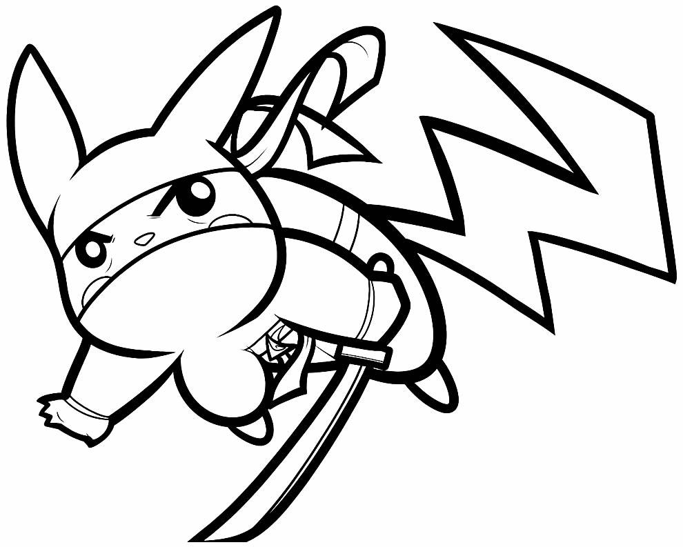 Desenho de Pikachu para imprimir e colorir