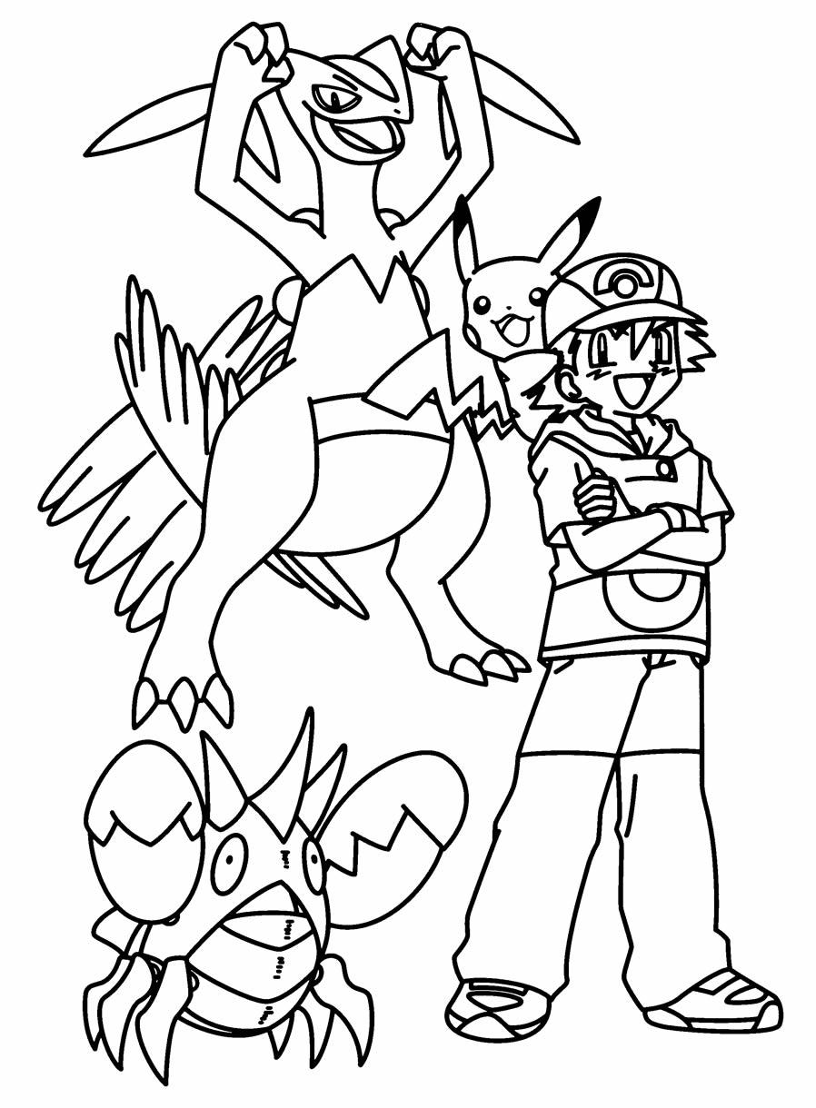 Desenho para pintar de Pikachu e Ash