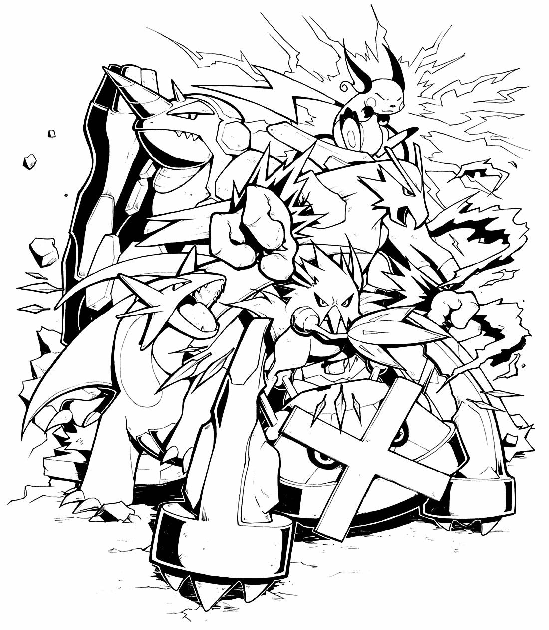 Desenho para pintar de Pikachu e Pokémons