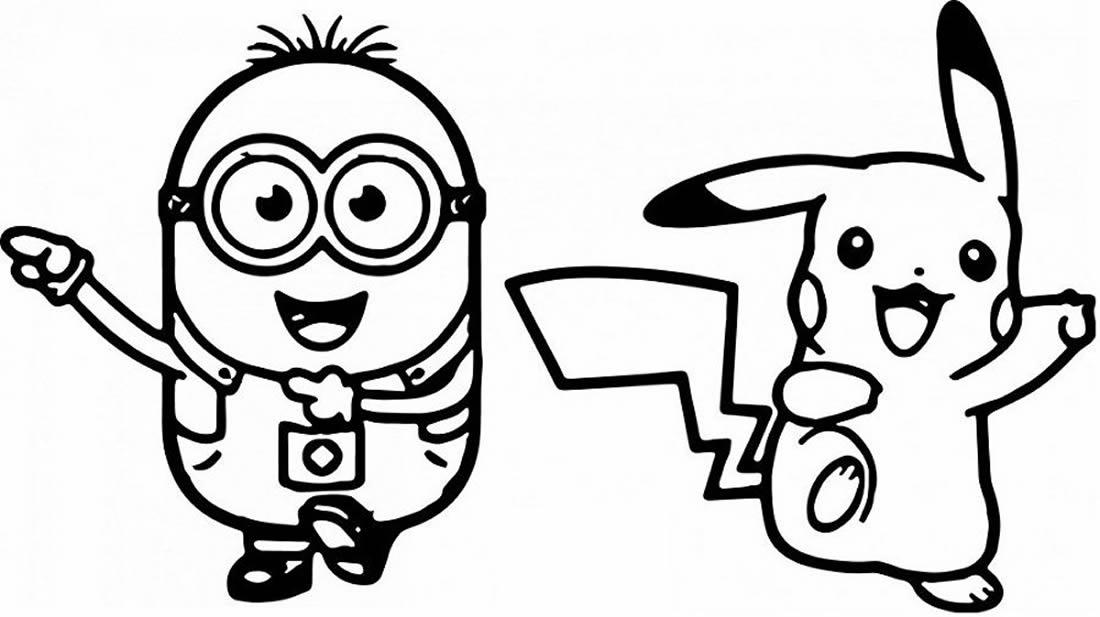 Desenho de Pikachu e Minion