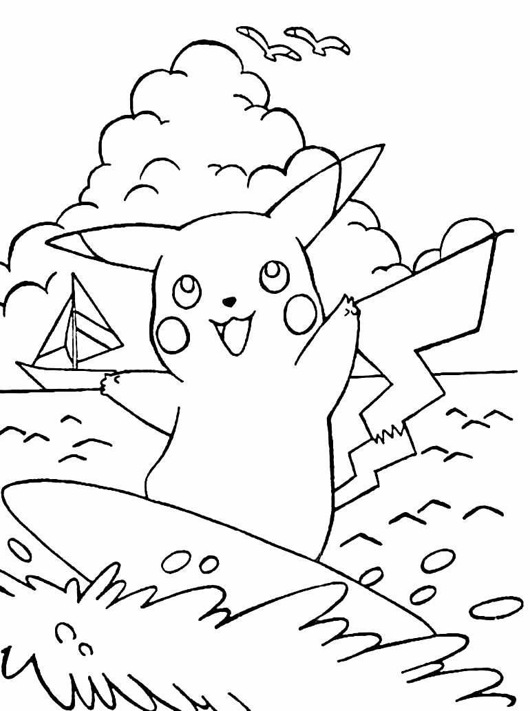 Desenho lindo de Pikachu surfando