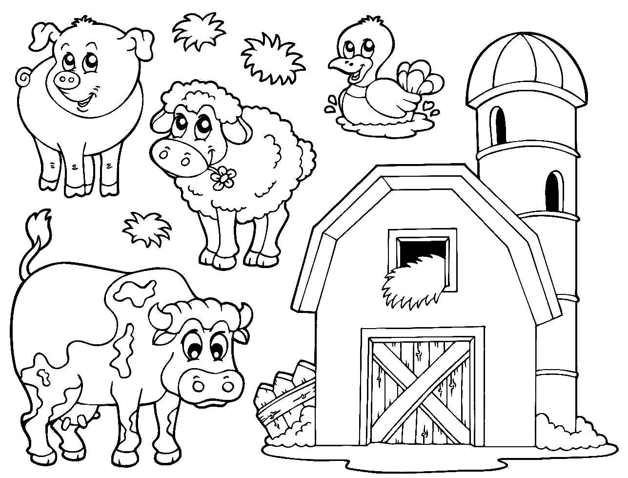 Desenho de fazenda para pintar e colorir