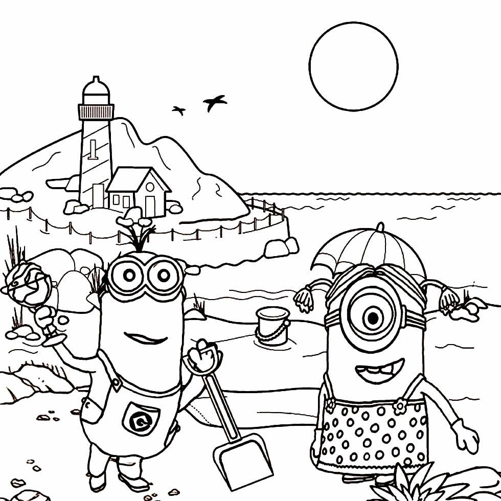 Desenho dos Minions para pintar