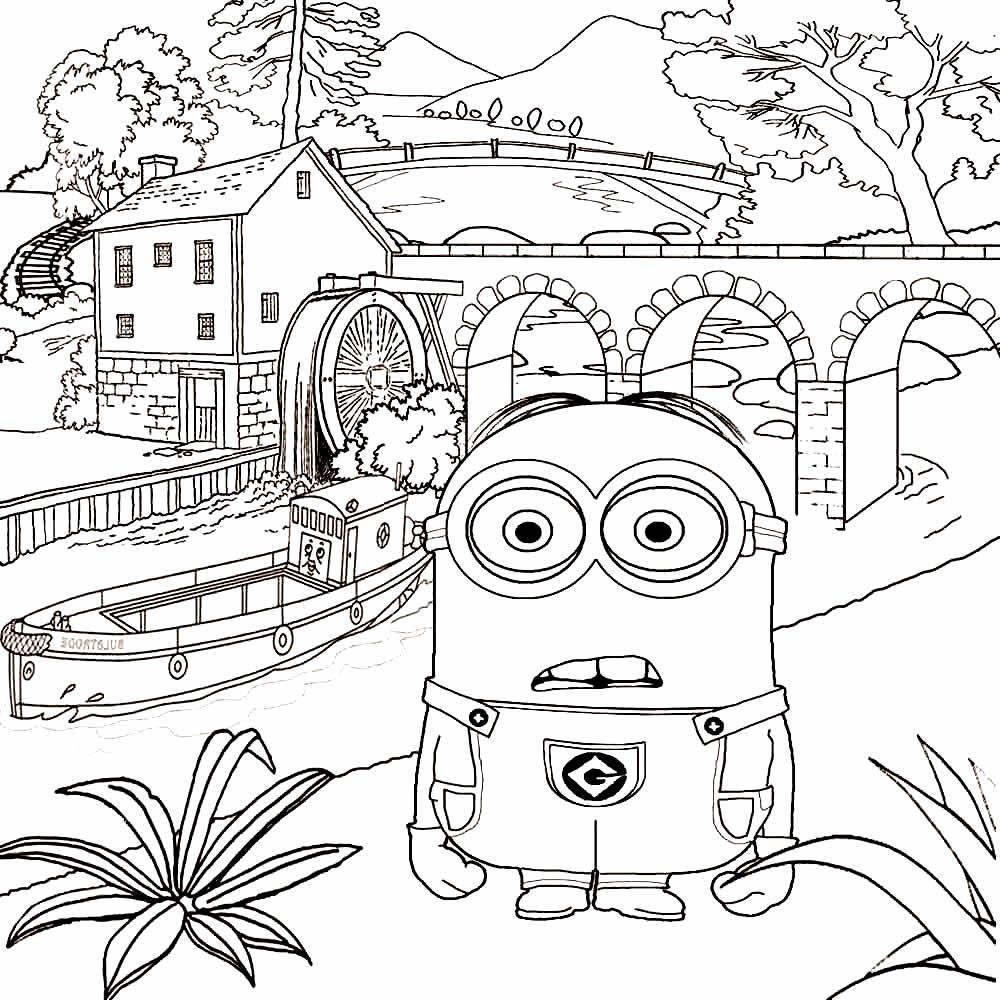 Desenho para pintar e colorir dos Minions