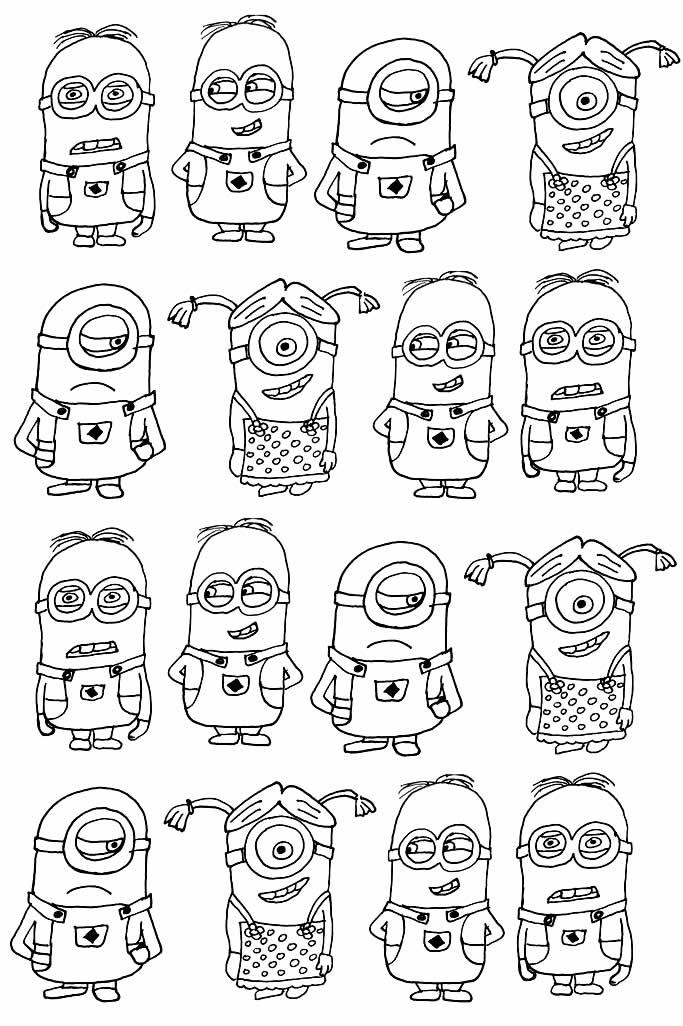 Desenhos de Minions para colorir