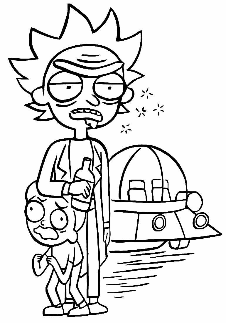 Desenho de Rick e Morty para pintar e colorir