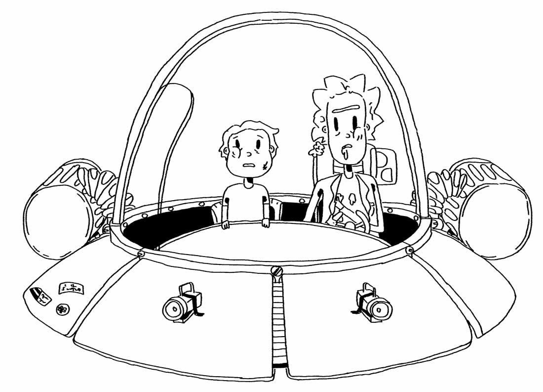 Desenho da Nave de Rick e Morty