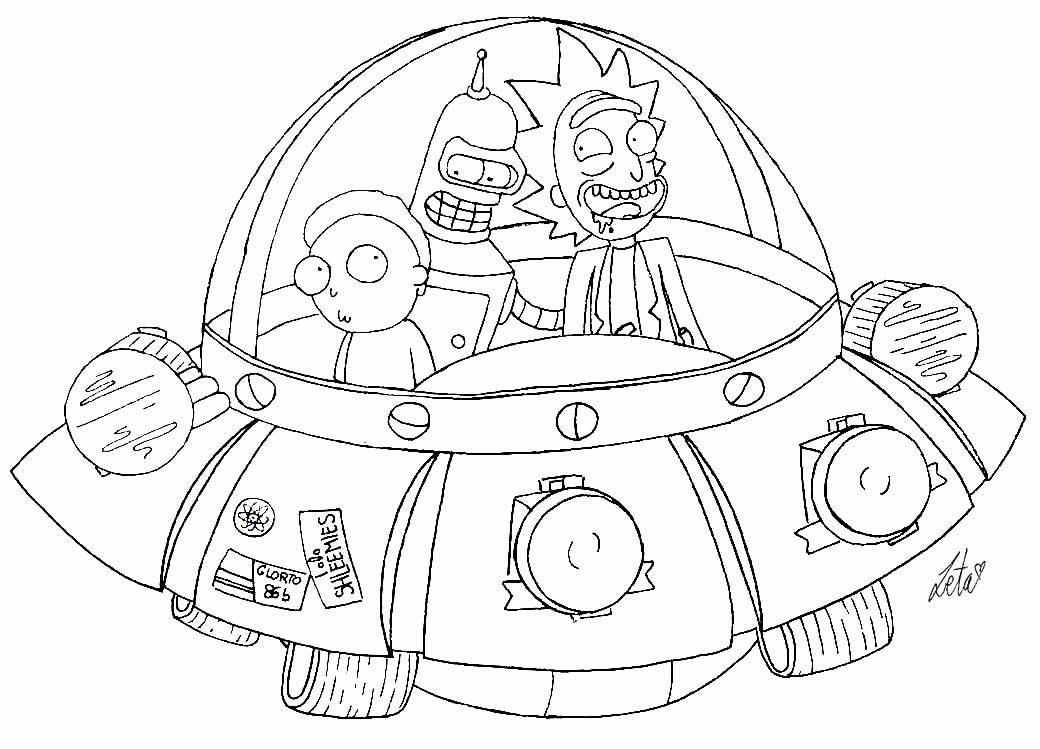 Desenho da Nave de Rick e Morty para colorir