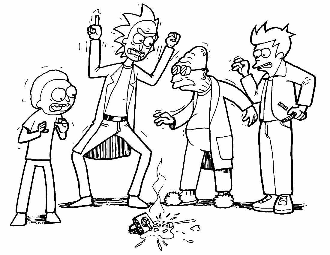 Imagem de Rick e Morty para pintar e colorir