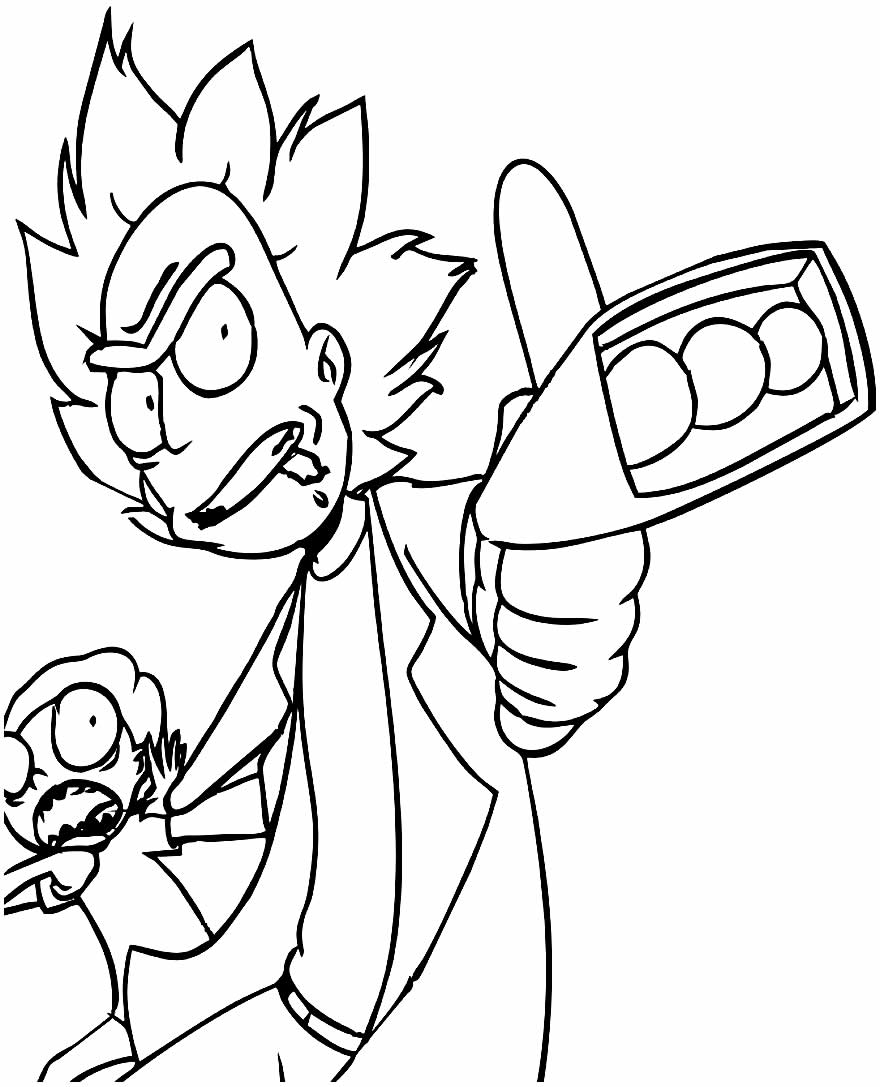 Lindo desenho de Rick & Morty para pintar e colorir