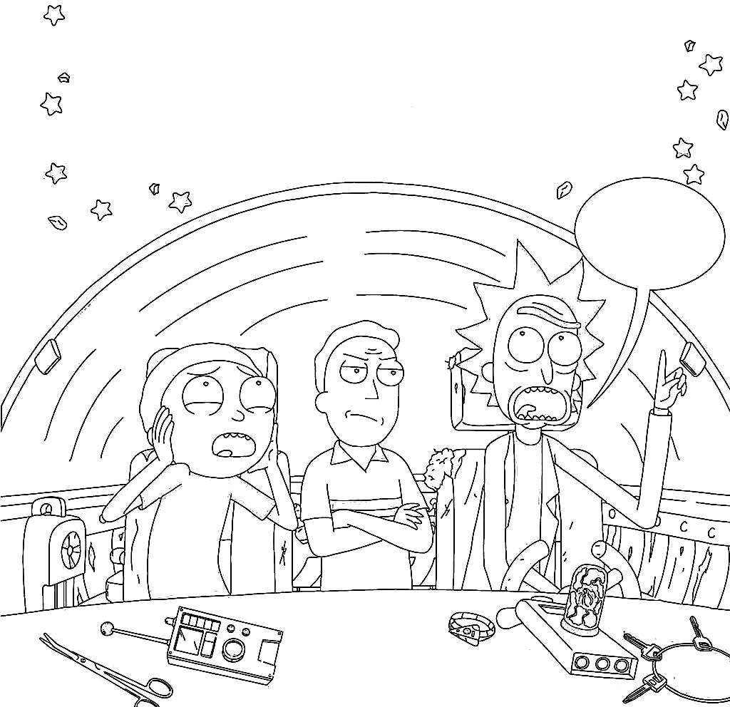 Desenho de Rick & Morty para colorir
