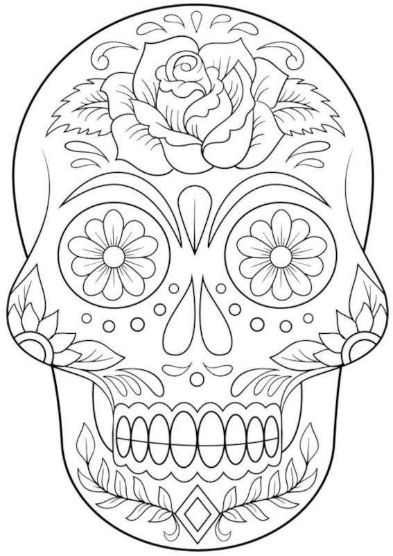 caveira mexicana para colorir
