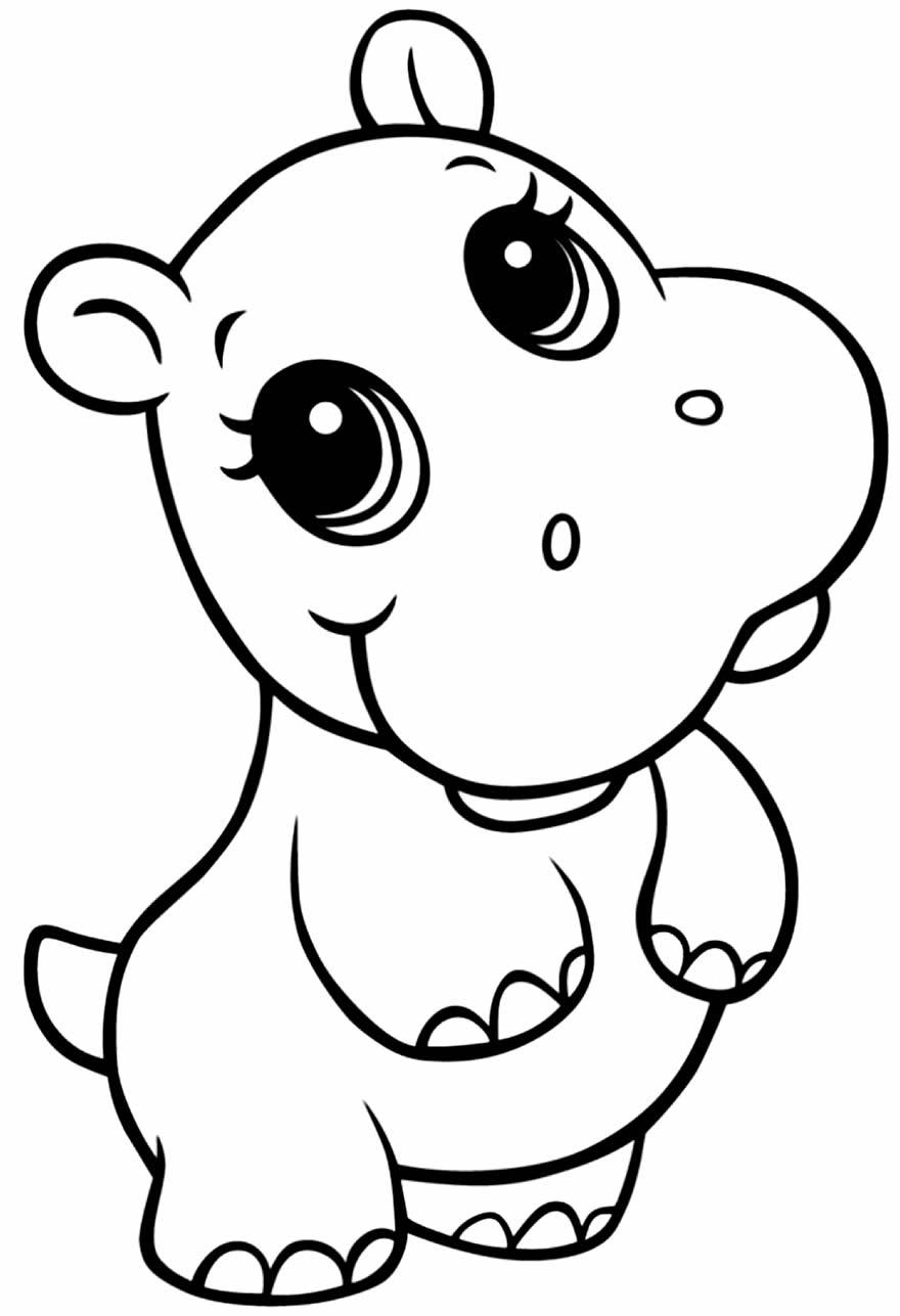 Desenho para colorir de hipopótamo