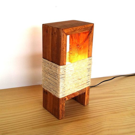 luminária de pallet rústica com sisal