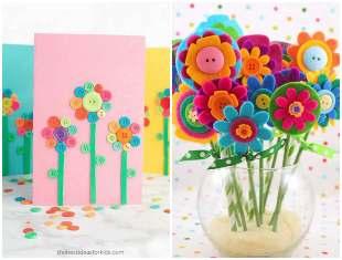 Artesanato com botões de costura para Dia das Mães