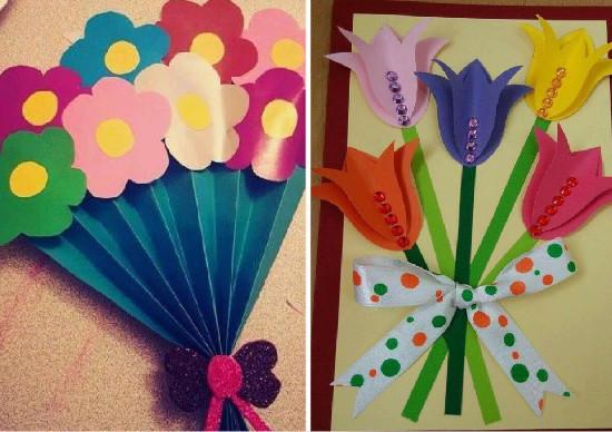 como fazer cartão com flores de papel