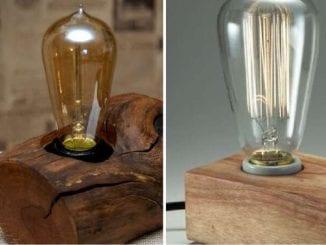 Luminárias vintage em blocos de madeira