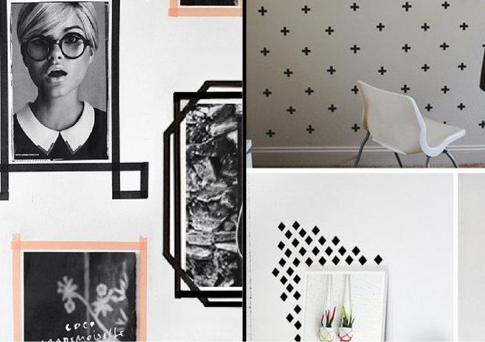 como decorar parede com fita isolante