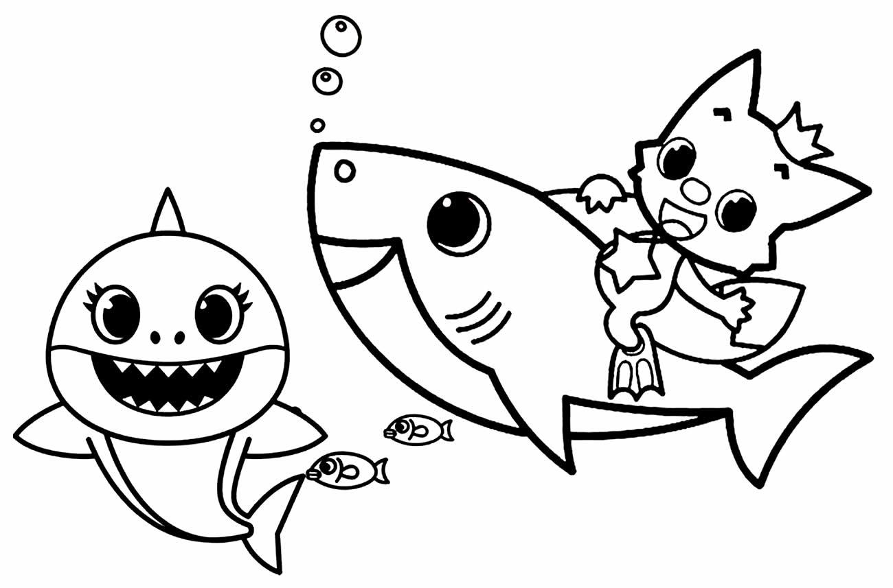 Desenho de Baby Shark para imprimir e colorir