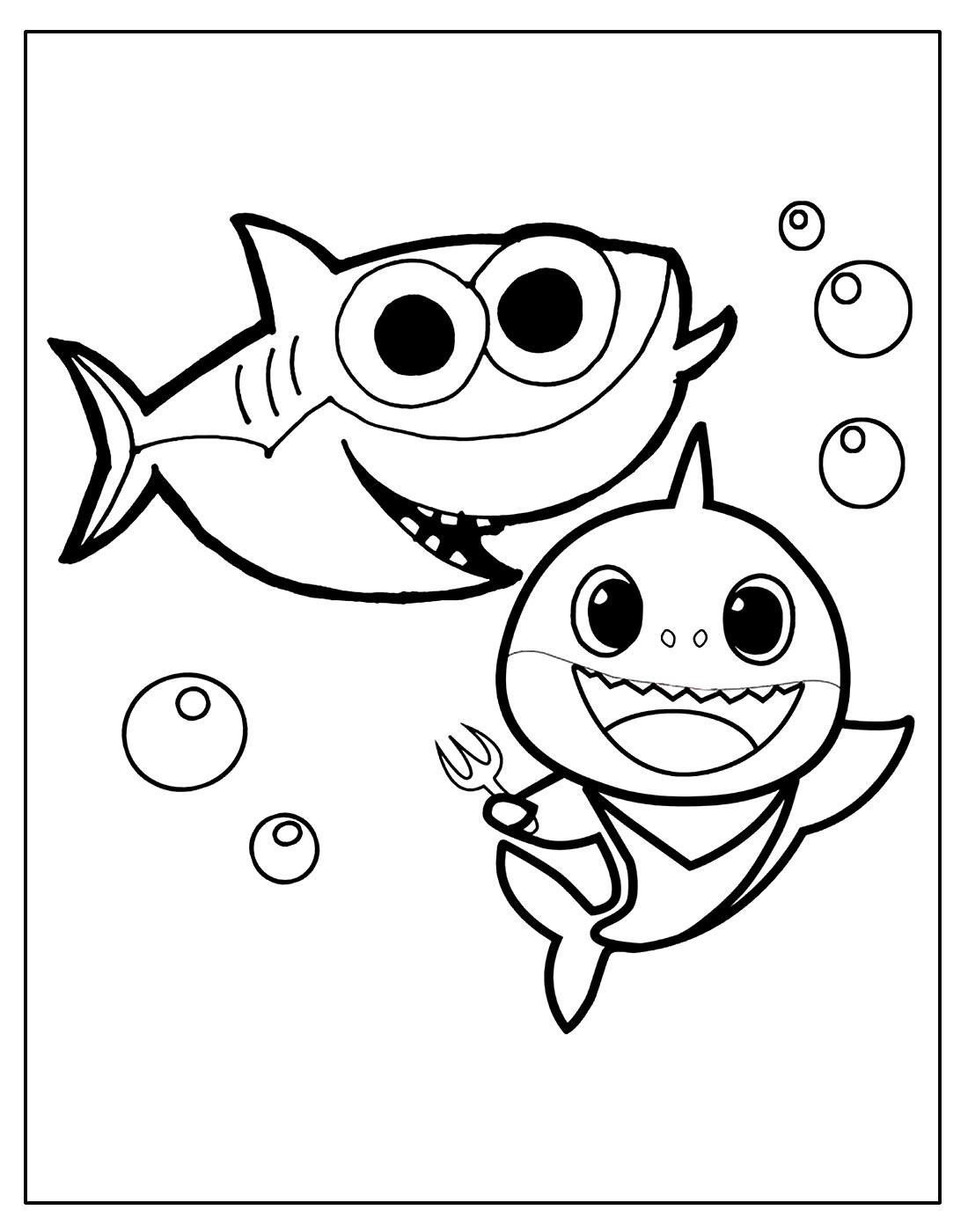 Página para colorir de Baby Shark
