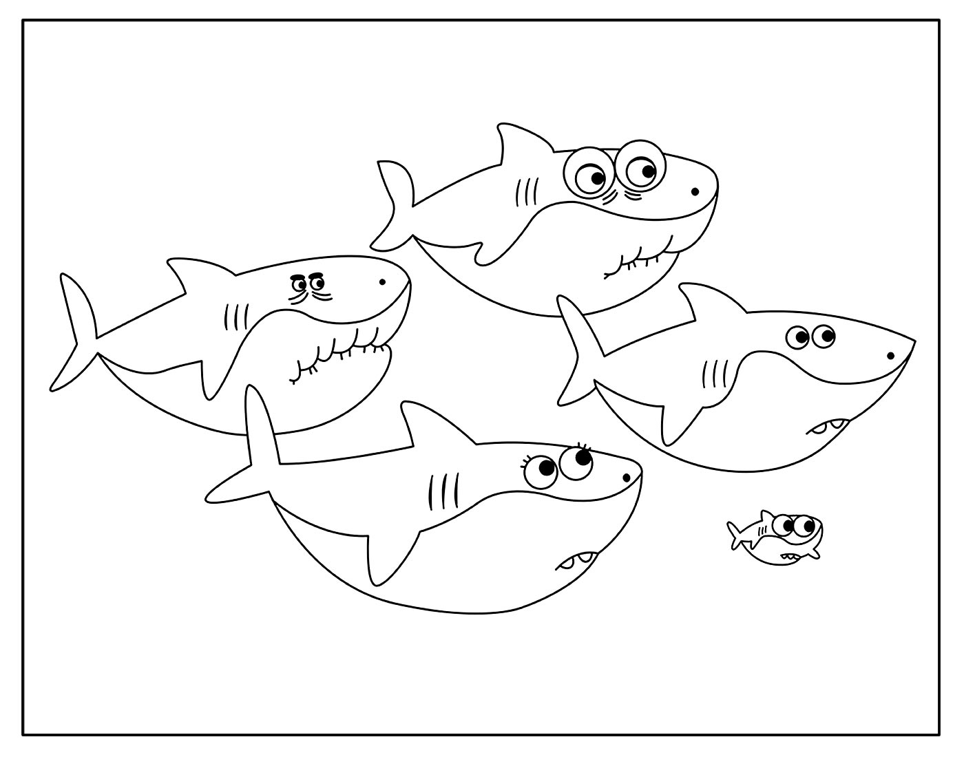 Página para colorir do Baby Shark