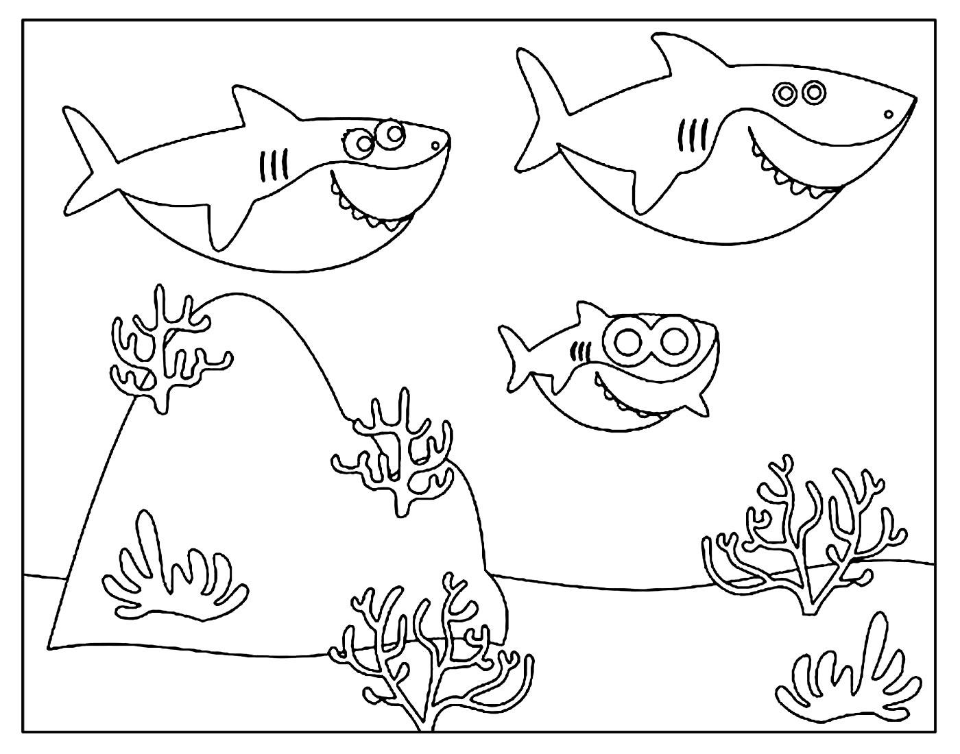 Desenho para colorir do Baby Shark