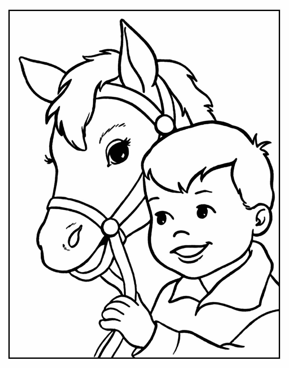 Desenho para colorir de Cavalo e Menino