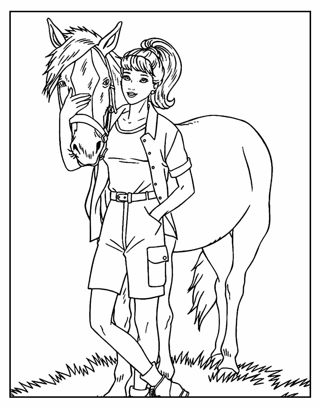 Desenho de Cavalo e Menina para pintar